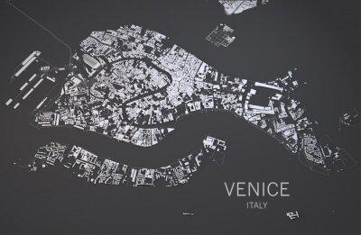 Obraz Cartina di Venezia, Italia, vista satellitare, mappa 3d