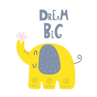 Cartoon animals. Cute wild animals. Cut hand drawn print for baby Shower. monochrome print. Cute Elephant. Dream Big
