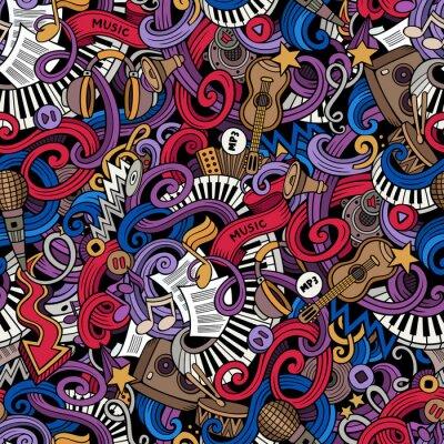 Obraz Cartoon hand drawn doodles Music seamless pattern