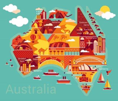 Obraz Cartoon map of Australia