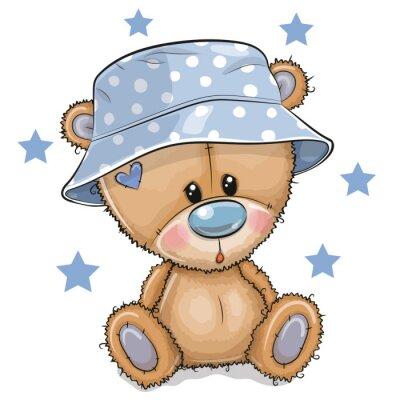 Obraz Cartoon Teddy Bear in panama hat isolated on a white background