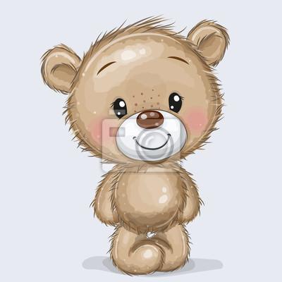 Obraz Cartoon Teddy Bear isolated on a white background