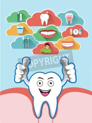 Obraz Cartoon uśmiechnięte zęby z zestawem chirurgii stomatologicznej