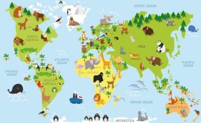 Obraz Cartoon Zabawna mapa świata z tradycyjnych zwierząt ze wszystkich kontynentów i oceanów. ilustracji wektorowych dla edukacji dzieci w wieku przedszkolnym i projektowania