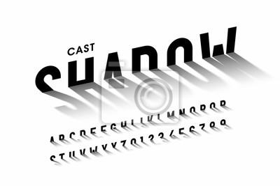 Obraz Cast shadow font, alphabet letters and numbers