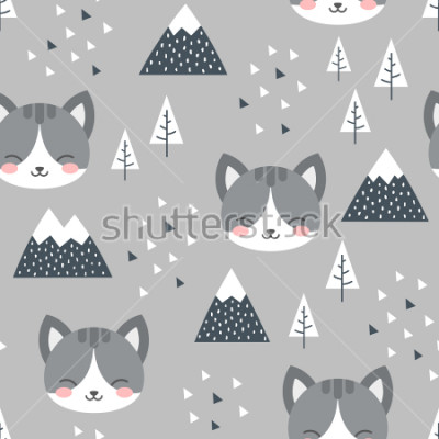 Obraz Cat Seamless Pattern Background, Scandinavian Happy cute kitty in the forest between mountain tree and cloud, cartoon kitten vector illustration for kids nordic background with triangle dots
