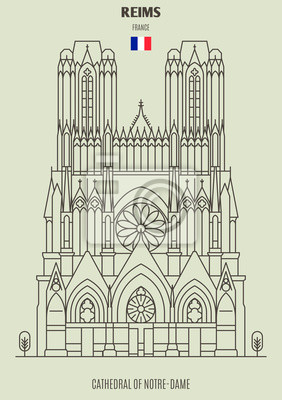 Cathedral of Notre-Dame of Reims, France. Landmark icon