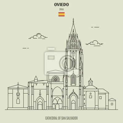 Cathedral of San Salvador in Oviedo, Spain. Landmark icon