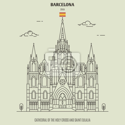 Cathedral of the Holy Cross and Saint Eulalia in Barcelona, Spain. Landmark icon