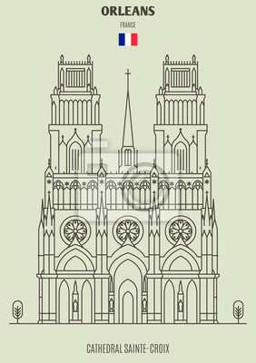 Cathedral Sainte-Croix in Orleans, France. Landmark icon