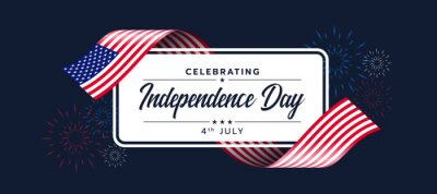 Obraz Celebrating Independence day of United States of america text on white banner with usa flag ribbon waving around and fire work on dark blue backround vector design