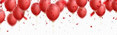 Obraz celebration banner with red balloon and confetti