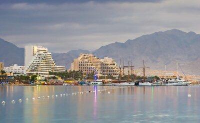 Obraz Centralna plaża o świcie z Ejlat