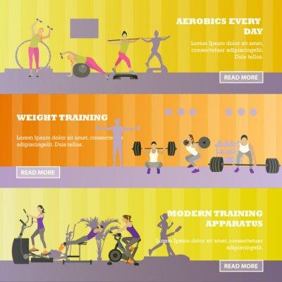 Centrum fitness poziome zestaw transparenty. Sprzęt sportowy i akcesoria. Koncepcja szkolenia ilustracji wektorowych.