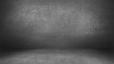 Obraz Charcoal Gray Grunge Cement Wall and Floor Studio Room Space Product Display Background Template