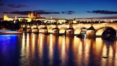 Charles Bridge and Hradcany at dusk, Czech Republic.