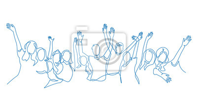 Obraz Cheerful crowd cheering illustration. Hands up. Group of applause people continuous one line vector drawing.