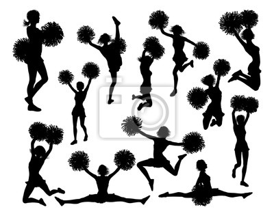Obraz Cheerleader detailed silhouettes with pom poms