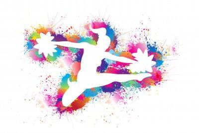 Obraz Cheerleader Logo Design. Sports Background. Colorful Dancing bright ink splashes. White silhouette of girl leading. Pom Poms, Icon, Symbol, Exercises, Equipment, Healthcare. Vector illustration.
