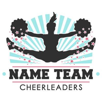 Obraz Cheerleader Logo team. Vector Design Illustration. Cheer jump Art.