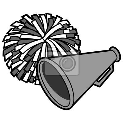 Obraz Cheerleaderek ikona ilustracja - ilustracja kreskówka wektor z cheerleaderek ikona.