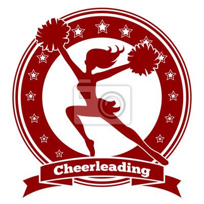Obraz Cheerleaderka logo odznaka lub cheer