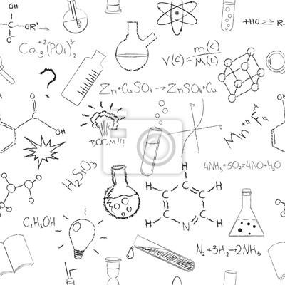 Chemia formuły i kolb na białym tle. Bezszwowy