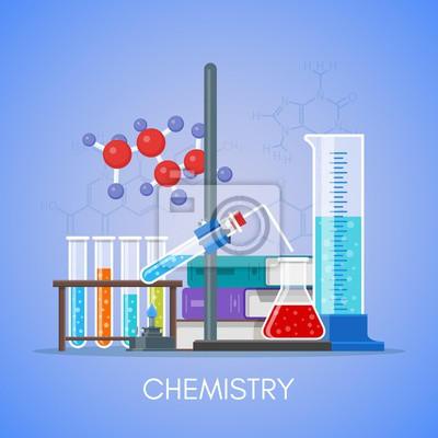 Chemia pedagogika Pojęcie wektora plakat płaska stylu