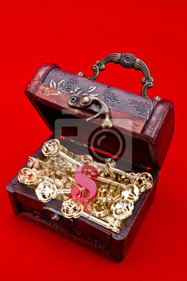 Chest Teasure ze złotym kluczy