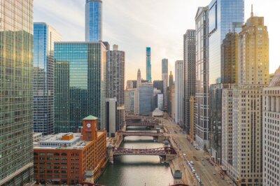 Obraz Chicago downtown buildings aerial skyline