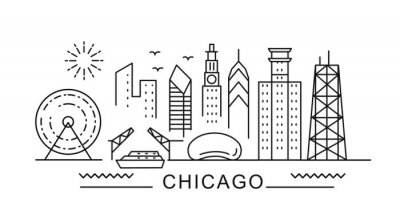 Obraz Chicago minimal style City Outline Skyline with Typographic. Vector cityscape with famous landmarks. Illustration for prints on bags, posters, cards.