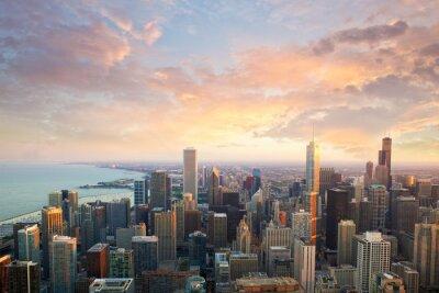 Obraz Chicagowska linia horyzontu przy zmierzchu czasu widok z lotu ptaka, Stany Zjednoczone