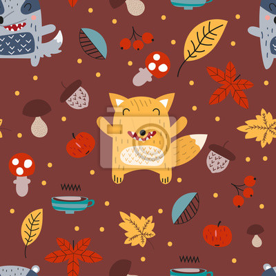 Childish autumn seamless pattern with cute fox and badger in Scandinavian style. Vector Illustration. Kids illustration for nursery design. Great for baby clothes, greeting card, wrapping paper.