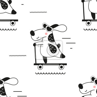 Childish monochrome seamless pattern with cool dog on scooter in Scandinavian style. Vector Illustration. Kids illustration for nursery art. Great for baby clothes, greeting card, wrapping paper.