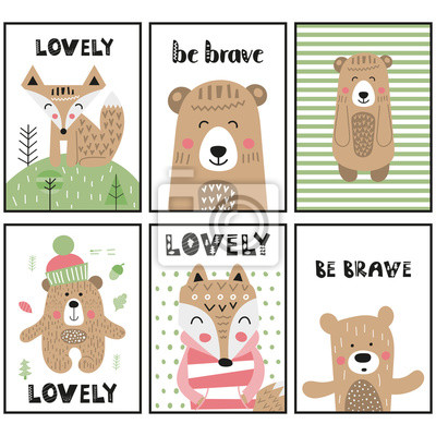 Childish posters set for nursery scandi design with funny animals - bear, fox in Scandinavian style. Vector Illustration. Kids illustration for baby clothes, greeting card, wrapping paper.