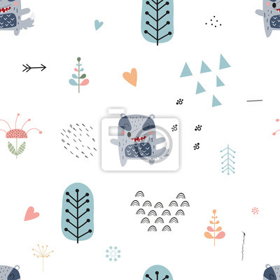 Childish seamless pattern with cute badger in Scandinavian style. Vector Illustration. Kids illustration for nursery design. Great for baby clothes, greeting card, wrapping paper. On white background.
