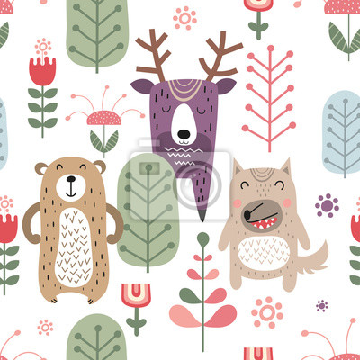 Childish seamless pattern with cute bear, deer and wolf in Scandinavian style. Vector Illustration. Kids illustration for nursery design. Great for baby clothes, greeting card, wrapping paper.