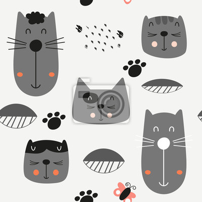 Childish seamless pattern with cute cats in Scandinavian style. Vector Illustration. Kids illustration for nursery design. Great for baby clothes, greeting card, wrapping paper.