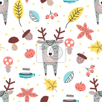 Childish seamless pattern with cute deer in Scandinavian style. Autumn forest. Vector Illustration. Kids illustration for nursery design. Great for baby clothes, greeting card, wrapping paper.