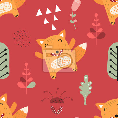Childish seamless pattern with cute fox in Scandinavian style. Vector Illustration. Kids illustration for nursery design. Great for baby clothes, greeting card, wrapping paper.