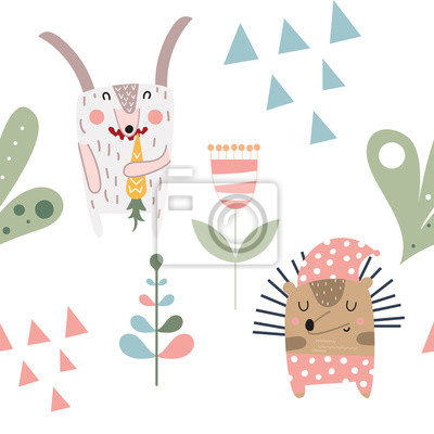 Childish seamless pattern with cute hare, hedgehog in Scandinavian style. Vector Illustration. Kids illustration for nursery design. Great for baby clothes, greeting card, wrapping paper.