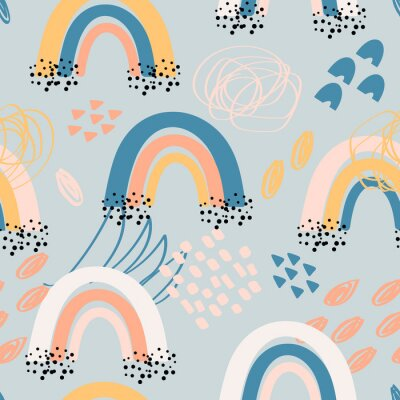 Obraz Childish seamless pattern with hand drawn rainbow and doodle elements. Trendy kids background in cute pastel colors, raster version. Good for textile, wallpaper, surface decoration, baby products