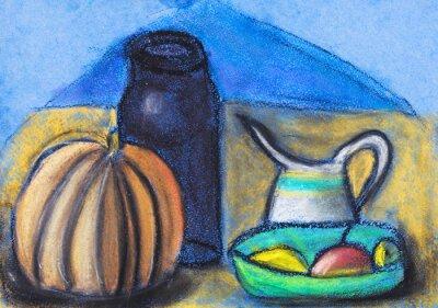 Obraz children drawing - still life with jugs and pumpkin