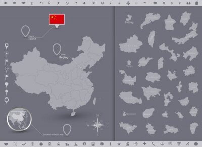 China map and flag with regions