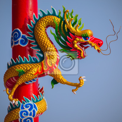 Chiński posąg smoka stylu z nieba