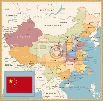 Chiny Mapa Retro Kolory