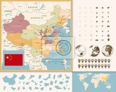 Chiny Mapa z nawigacją Icon Set. vintage Kolory