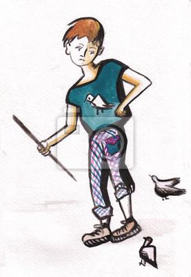 Obraz Chłopiec i gołębie
