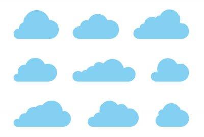 Obraz Chmura kształtuje scenografia wektorowych. Ikony technologii Dane pakować