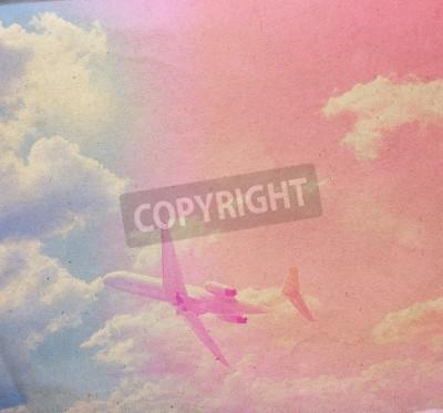 Obraz chmury na vintage tle papieru z teksturą, z plamami grunge
